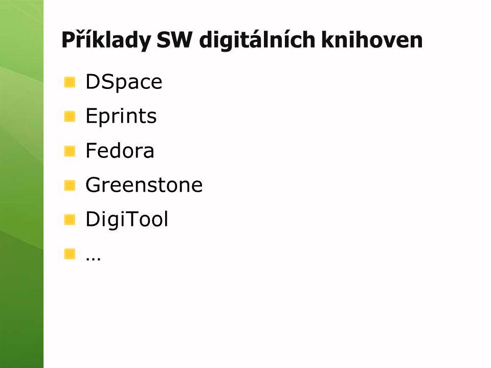 Příklady SW digitálních knihoven DSpace Eprints Fedora Greenstone DigiTool …