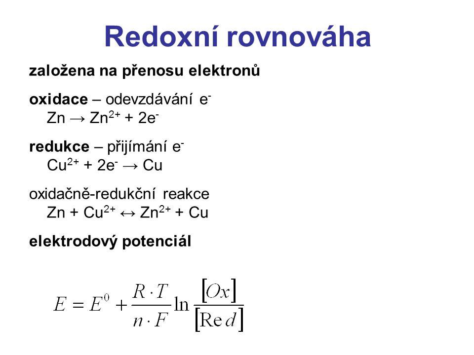 Standardní potenciály elektrod Elektroda Red/OxnE 0, [V] K / K + 1-2,92 Na / Na + 1-2,71 Zn / Zn 2+ 2-0,76 Pb / Pb 2+ 2-0,13 H / H + 10,00 Cu / Cu 2+ 20,34 Ag / Ag + 10,81 Cl 2 / Cl - 21,36 Mn 2+ / MnO 4 - 51,52 F 2 / F - 22,85 síla redukované formy – redukčních účinků síla oxidované formy – oxidačních účinků