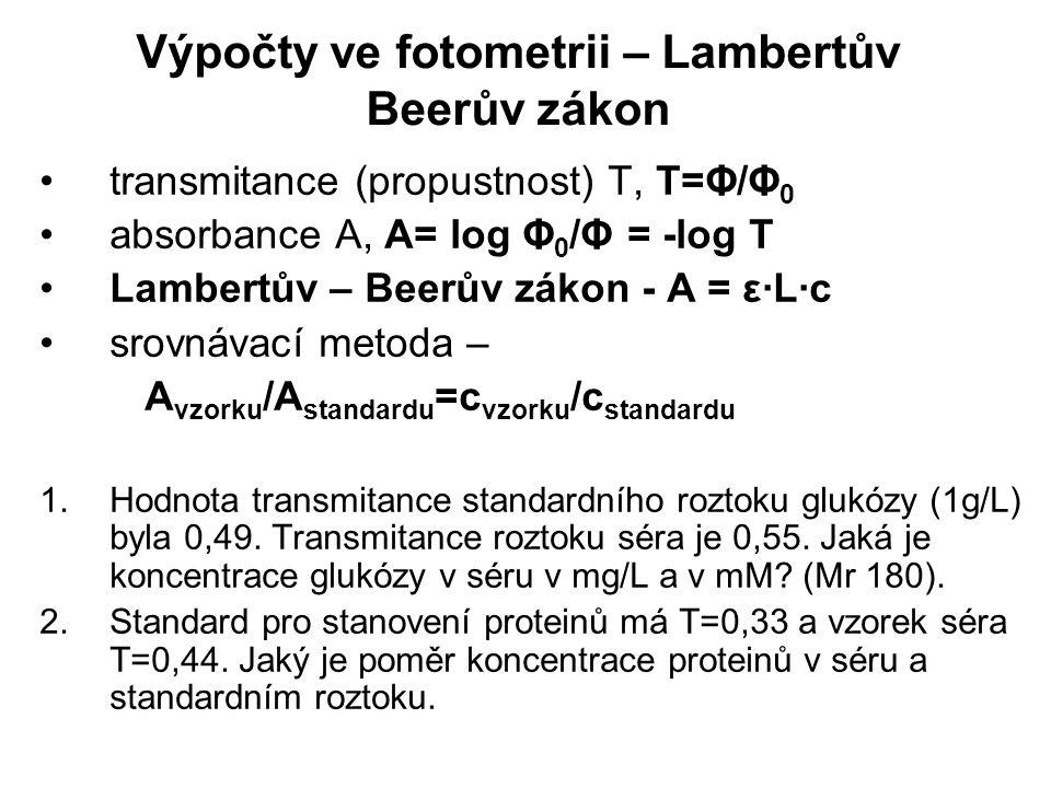 Výpočty ve fotometrii – Lambertův Beerův zákon transmitance (propustnost) T, T=Φ/Φ 0 absorbance A, A= log Φ 0 /Φ = -log T Lambertův – Beerův zákon - A = ε·L·c srovnávací metoda – A vzorku /A standardu =c vzorku /c standardu 1.Hodnota transmitance standardního roztoku glukózy (1g/L) byla 0,49.