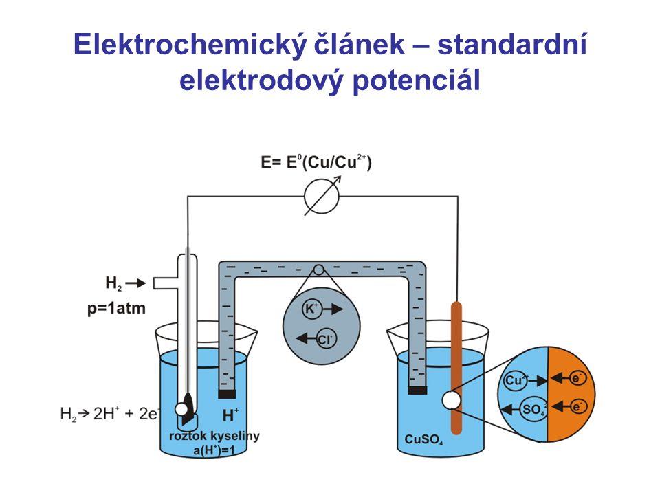 Typy elektrod Elektrody I.druhu kovové – Ag elda pro Ag +, Cu elda pro Cu 2+ plynové – vodíková, chlorová elda Elektrody II.druhu kov pokrytý vrstvou nerozpustné soli od kationtu kovu argentchloridová (Ag/AgCl), kalomelová (Hg/Hg 2 Cl 2 ) referentní Oxidačně redukční (redoxní) elektrody inertní kov Pt, Au nebo C měří aktivitu oxidované i redukované formy Petersova rovnice E=E 0 +0,059/n·log c(ox)/c(red)