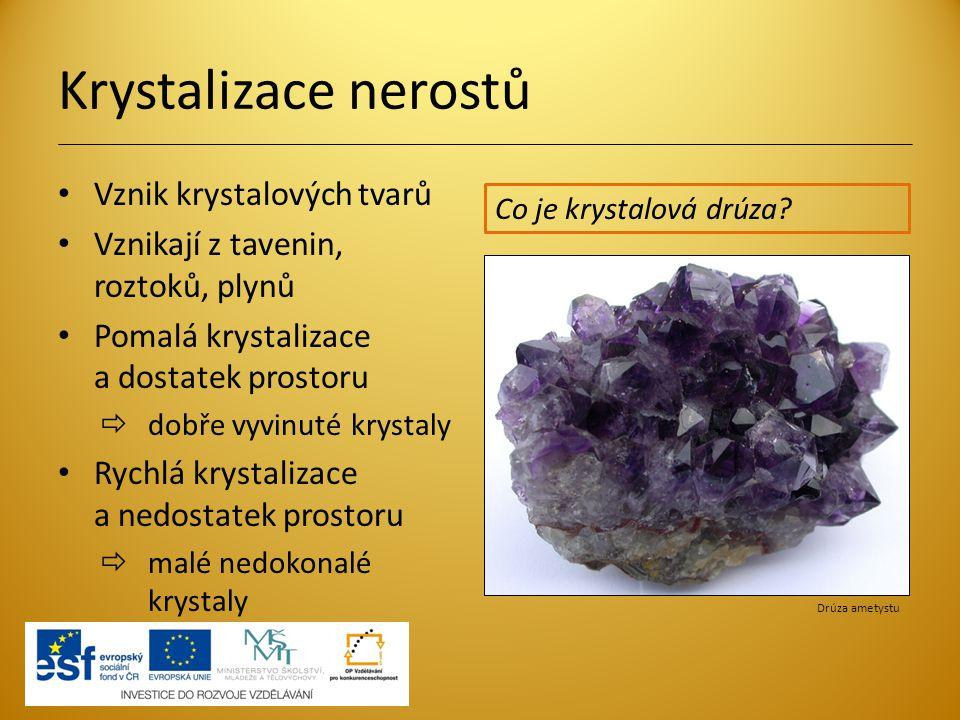 Krystalizace nerostů Vznik krystalových tvarů Vznikají z tavenin, roztoků, plynů Pomalá krystalizace a dostatek prostoru  dobře vyvinuté krystaly Ryc