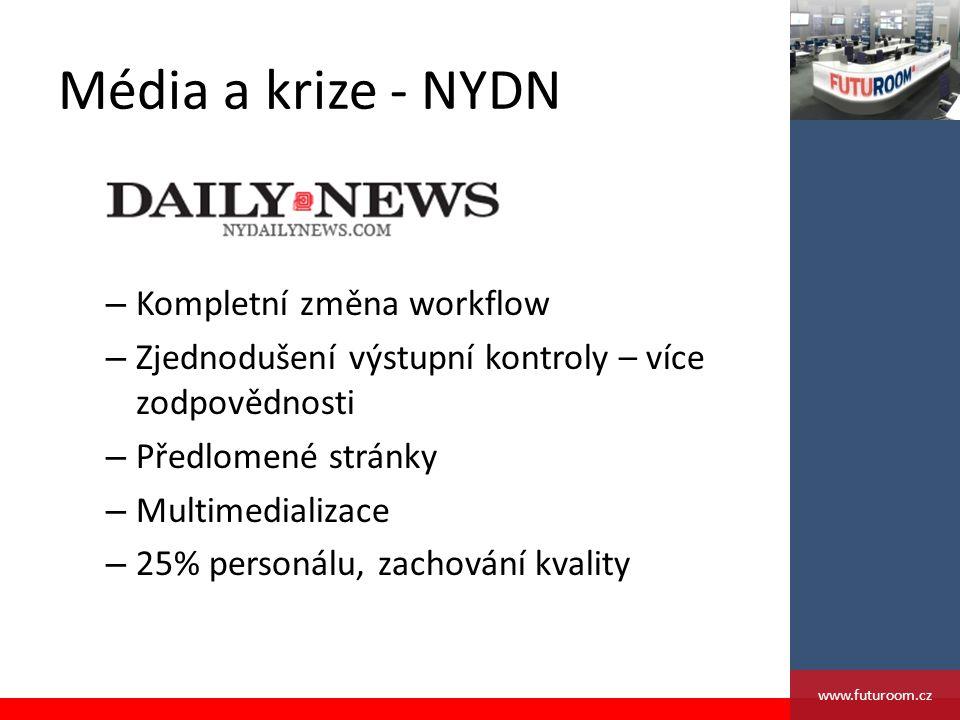 Média a krize - NYDN – Kompletní změna workflow – Zjednodušení výstupní kontroly – více zodpovědnosti – Předlomené stránky – Multimedializace – 25% personálu, zachování kvality www.futuroom.cz