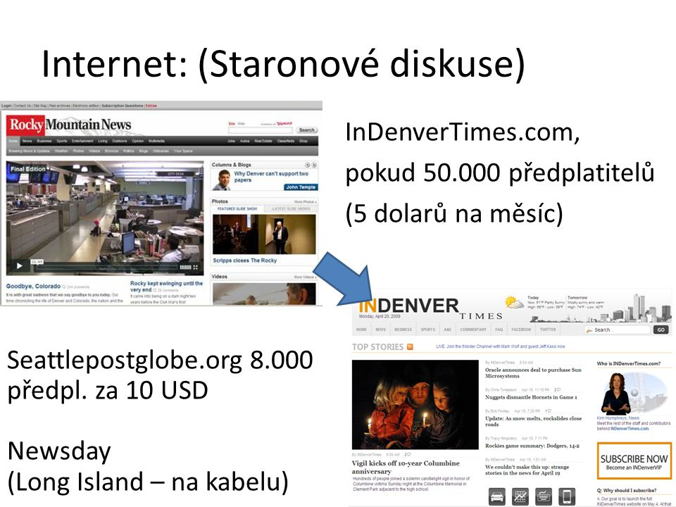 Internet: (Staronové diskuse) InDenverTimes.com, pokud 50.000 předplatitelů (5 dolarů na měsíc) Seattlepostglobe.org 8.000 předpl.