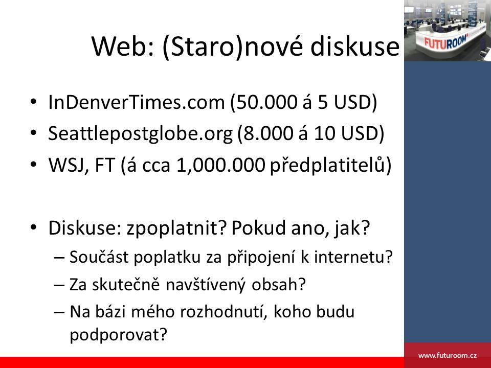 Web: (Staro)nové diskuse InDenverTimes.com (50.000 á 5 USD) Seattlepostglobe.org (8.000 á 10 USD) WSJ, FT (á cca 1,000.000 předplatitelů) Diskuse: zpoplatnit.