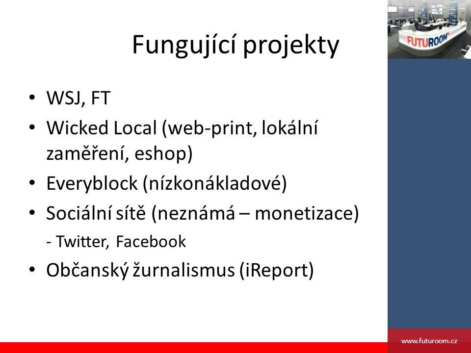 Fungující projekty WSJ, FT Wicked Local (web-print, lokální zaměření, eshop) Everyblock (nízkonákladové) Sociální sítě (neznámá – monetizace) - Twitter, Facebook Občanský žurnalismus (iReport) www.futuroom.cz