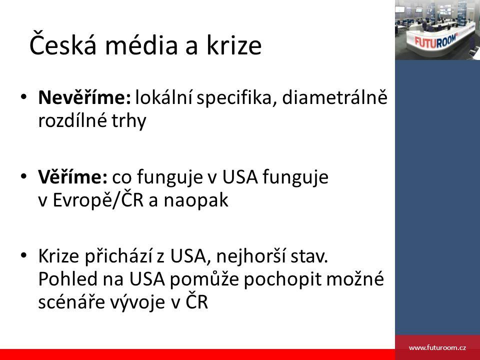 Česká média a krize Nevěříme: lokální specifika, diametrálně rozdílné trhy Věříme: co funguje v USA funguje v Evropě/ČR a naopak Krize přichází z USA, nejhorší stav.