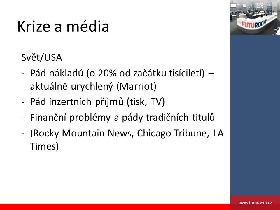 Krize a média Svět/USA -Pád nákladů (o 20% od začátku tisíciletí) – aktuálně urychlený (Marriot) -Pád inzertních příjmů (tisk, TV) -Finanční problémy a pády tradičních titulů -(Rocky Mountain News, Chicago Tribune, LA Times) www.futuroom.cz