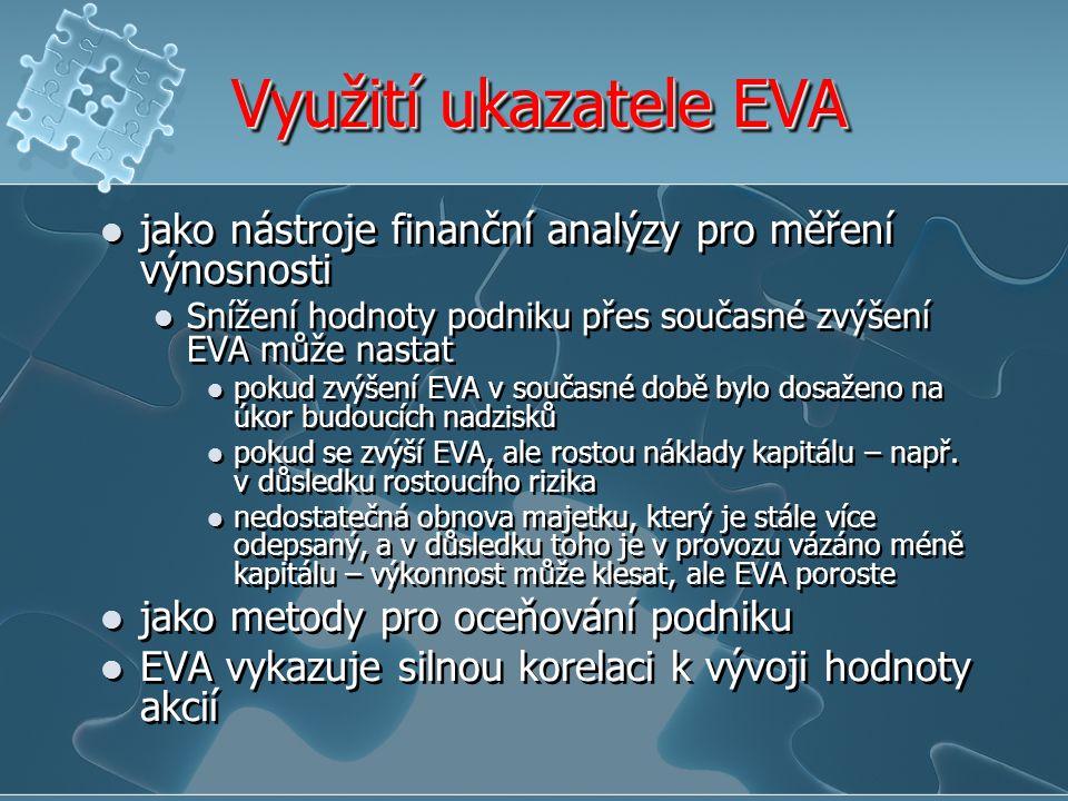 """Omezení ukazatele EVA EVA slouží k zjištění výnosnosti pro akcionáře, otázkou však zůstává stanovení """"normální výnosnosti, která je přiměřená k danému riziku – jedná se tedy spíše o odhad EVA s určitou pravděpodobností vlastní kapitál náklady vlastního kapitálu jsou zde stanoveny jako náklady příležitosti aby mohla být EVA správně spočítána, je nutné znát tržní hodnotu vlastního kapitálu, což je ovšem výsledkem oceňovacího procesu – tj."""