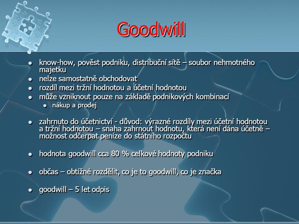 GoodwillGoodwill know-how, pověst podniku, distribuční sítě – soubor nehmotného majetku nelze samostatně obchodovat rozdíl mezi tržní hodnotou a účetní hodnotou může vzniknout pouze na základě podnikových kombinací nákup a prodej zahrnuto do účetnictví - důvod: výrazné rozdíly mezi účetní hodnotou a tržní hodnotou – snaha zahrnout hodnotu, která není dána účetně – možnost odčerpat peníze do státního rozpočtu hodnota goodwill cca 80 % celkové hodnoty podniku občas – obtížné rozdělit, co je to goodwill, co je značka goodwill – 5 let odpis know-how, pověst podniku, distribuční sítě – soubor nehmotného majetku nelze samostatně obchodovat rozdíl mezi tržní hodnotou a účetní hodnotou může vzniknout pouze na základě podnikových kombinací nákup a prodej zahrnuto do účetnictví - důvod: výrazné rozdíly mezi účetní hodnotou a tržní hodnotou – snaha zahrnout hodnotu, která není dána účetně – možnost odčerpat peníze do státního rozpočtu hodnota goodwill cca 80 % celkové hodnoty podniku občas – obtížné rozdělit, co je to goodwill, co je značka goodwill – 5 let odpis