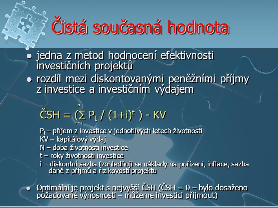 Čistá současná hodnota jedna z metod hodnocení efektivnosti investičních projektů rozdíl mezi diskontovanými peněžními příjmy z investice a investičním výdajem N ČSH = (∑ P t / (1+i) t ) - KV t = 1 P t – příjem z investice v jednotlivých letech životnosti KV – kapitálový výdaj N – doba životnosti investice t – roky životnosti investice i – diskontní sazba (zohledňují se náklady na pořízení, inflace, sazba daně z příjmů a rizikovosti projektu Optimální je projekt s nejvyšší ČSH (ČSH = 0 – bylo dosaženo požadované výnosnosti – můžeme investici přijmout) jedna z metod hodnocení efektivnosti investičních projektů rozdíl mezi diskontovanými peněžními příjmy z investice a investičním výdajem N ČSH = (∑ P t / (1+i) t ) - KV t = 1 P t – příjem z investice v jednotlivých letech životnosti KV – kapitálový výdaj N – doba životnosti investice t – roky životnosti investice i – diskontní sazba (zohledňují se náklady na pořízení, inflace, sazba daně z příjmů a rizikovosti projektu Optimální je projekt s nejvyšší ČSH (ČSH = 0 – bylo dosaženo požadované výnosnosti – můžeme investici přijmout)