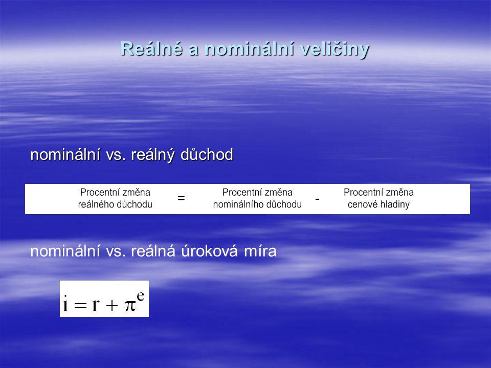 Reálné a nominální veličiny nominální vs. reálný důchod nominální vs. reálná úroková míra