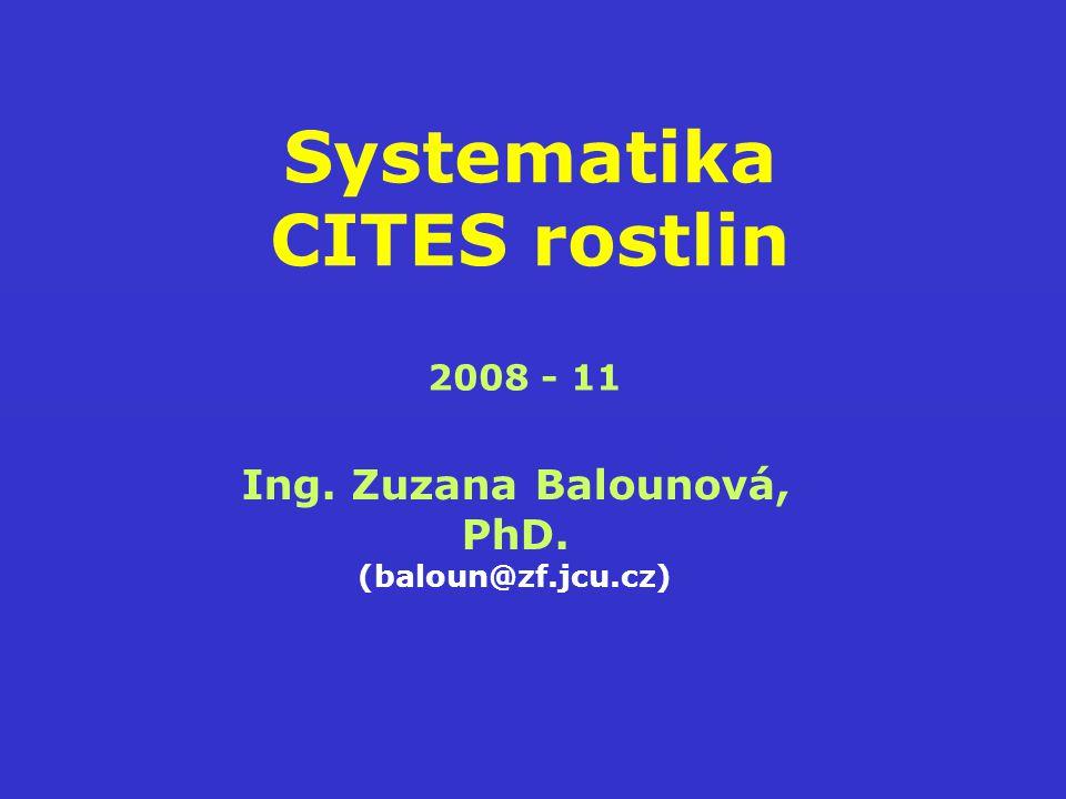 Systematika CITES rostlin Ing. Zuzana Balounová, PhD. (baloun@zf.jcu.cz) 2008 - 11