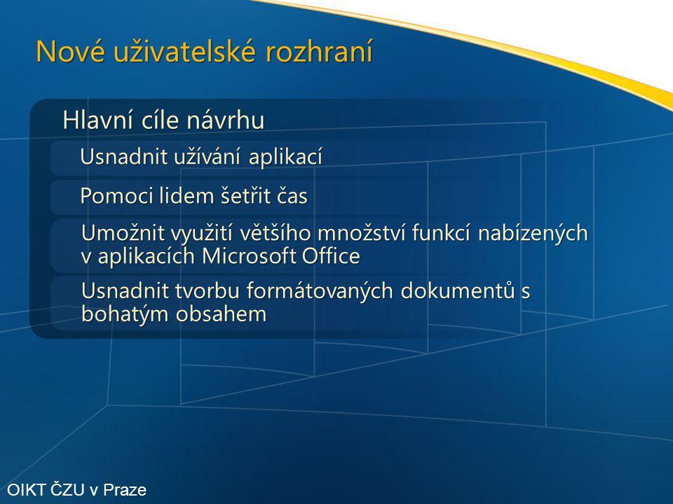 Hlavní cíle návrhu Usnadnit užívání aplikací Nové uživatelské rozhraní Pomoci lidem šetřit čas Umožnit využití většího množství funkcí nabízených v aplikacích Microsoft Office Usnadnit tvorbu formátovaných dokumentů s bohatým obsahem OIKT ČZU v Praze