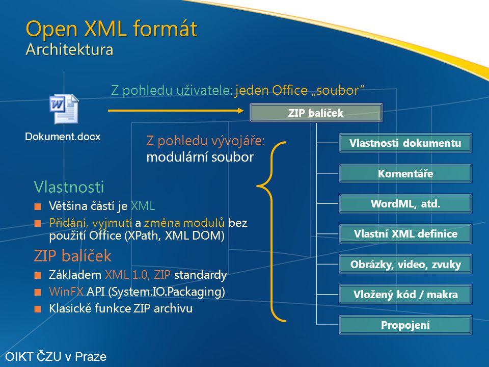 """Z pohledu uživatele: jeden Office """"soubor ZIP balíček Vlastnosti dokumentu Komentáře Propojení Vložený kód / makra Obrázky, video, zvuky Vlastní XML definice WordML, atd."""