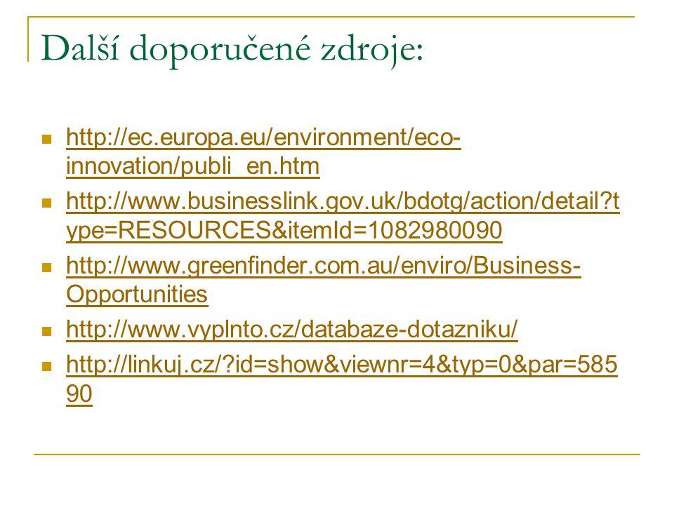 Další doporučené zdroje: http://ec.europa.eu/environment/eco- innovation/publi_en.htm http://ec.europa.eu/environment/eco- innovation/publi_en.htm http://www.businesslink.gov.uk/bdotg/action/detail?t ype=RESOURCES&itemId=1082980090 http://www.businesslink.gov.uk/bdotg/action/detail?t ype=RESOURCES&itemId=1082980090 http://www.greenfinder.com.au/enviro/Business- Opportunities http://www.greenfinder.com.au/enviro/Business- Opportunities http://www.vyplnto.cz/databaze-dotazniku/ http://linkuj.cz/?id=show&viewnr=4&typ=0&par=585 90 http://linkuj.cz/?id=show&viewnr=4&typ=0&par=585 90