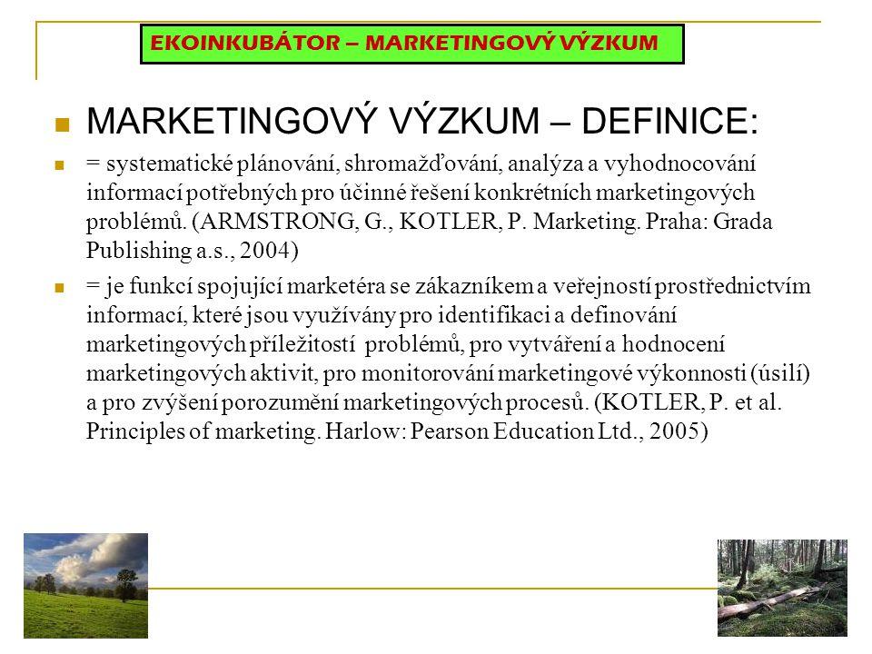 MARKETINGOVÝ VÝZKUM – DEFINICE: = systematické plánování, shromažďování, analýza a vyhodnocování informací potřebných pro účinné řešení konkrétních marketingových problémů.