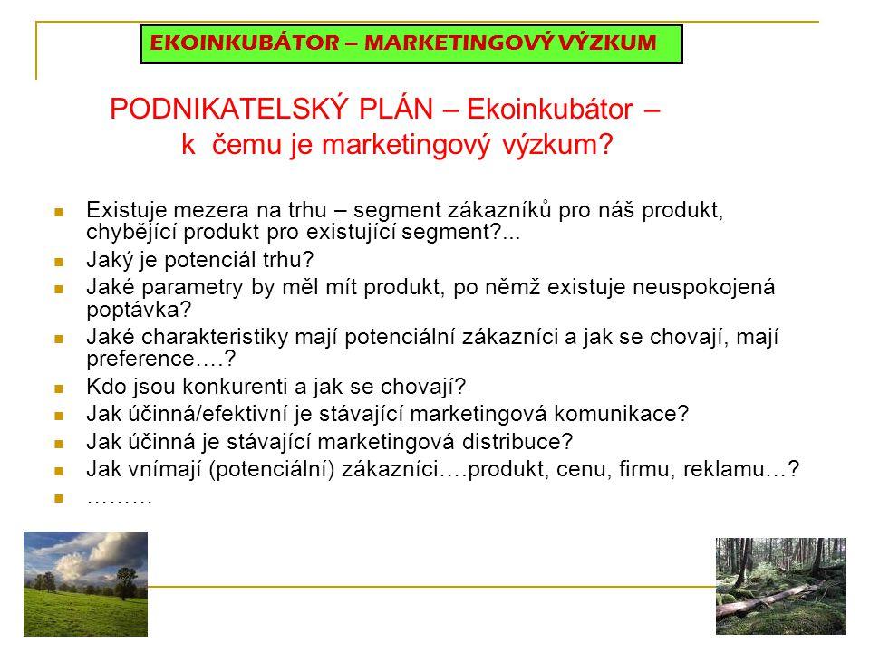 PODNIKATELSKÝ PLÁN – Ekoinkubátor – k čemu je marketingový výzkum? Existuje mezera na trhu – segment zákazníků pro náš produkt, chybějící produkt pro