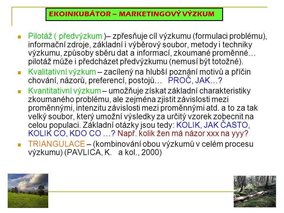 Pilotáž ( předvýzkum )– zpřesňuje cíl výzkumu (formulaci problému), informační zdroje, základní i výběrový soubor, metody i techniky výzkumu, způsoby
