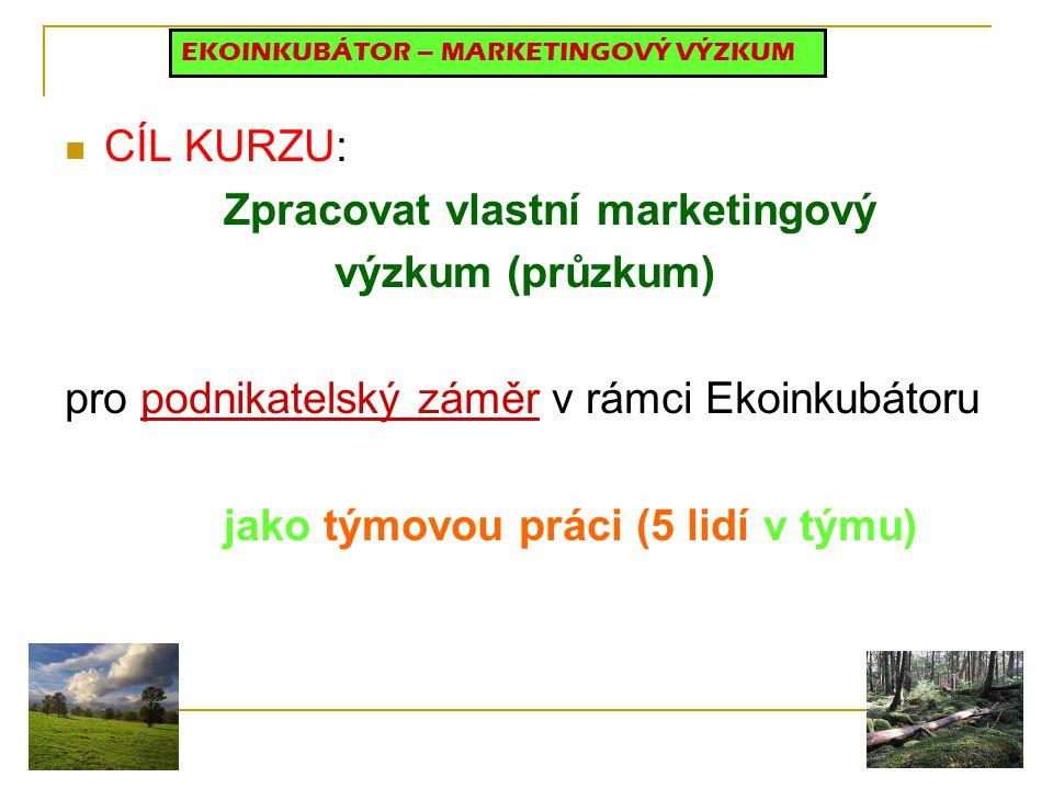 CÍL KURZU: Zpracovat vlastní marketingový výzkum (průzkum) pro podnikatelský záměr v rámci Ekoinkubátoru jako týmovou práci (5 lidí v týmu) EKOINKUBÁTOR – MARKETINGOVÝ VÝZKUM