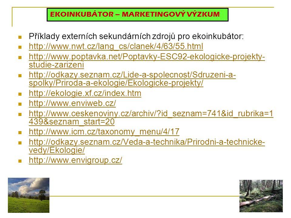 Příklady externích sekundárních zdrojů pro ekoinkubátor: http://www.nwt.cz/lang_cs/clanek/4/63/55.html http://www.poptavka.net/Poptavky-ESC92-ekologic