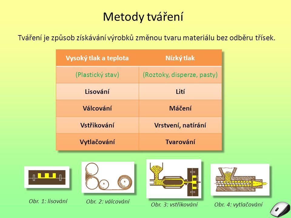 Metody tváření Tváření je způsob získávání výrobků změnou tvaru materiálu bez odběru třísek.