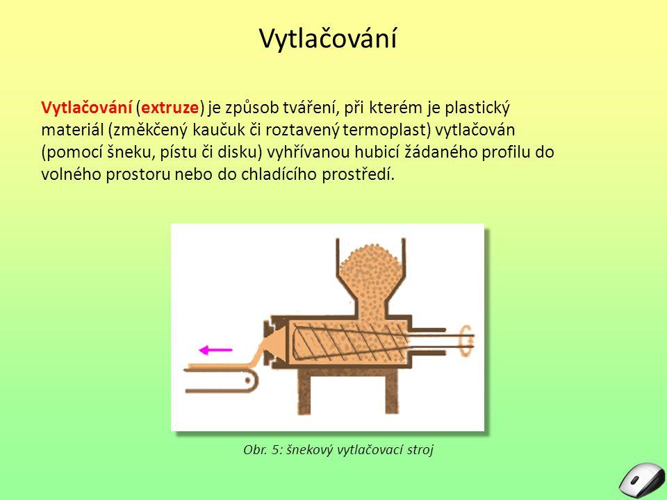 Vytlačování Vytlačování (extruze) je způsob tváření, při kterém je plastický materiál (změkčený kaučuk či roztavený termoplast) vytlačován (pomocí šneku, pístu či disku) vyhřívanou hubicí žádaného profilu do volného prostoru nebo do chladícího prostředí.