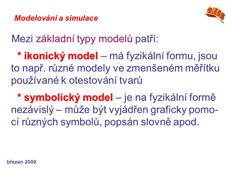 březen 2009 Mezi základní typy modelů patří: * ikonický model * ikonický model – má fyzikální formu, jsou to např. různé modely ve zmenšeném měřítku p
