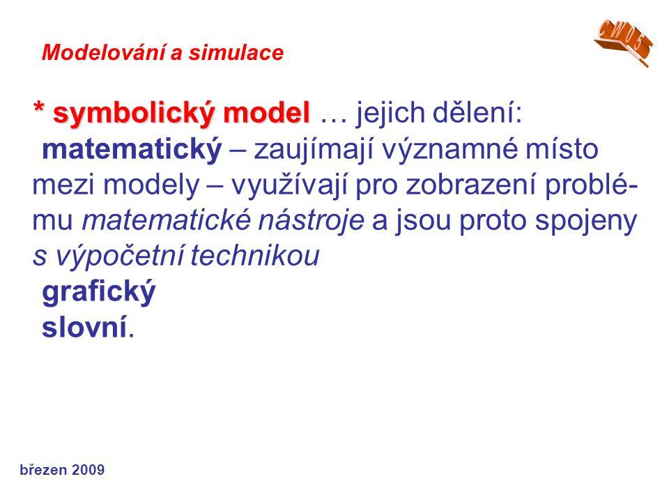 březen 2009 * symbolický model * symbolický model … jejich dělení: matematický – zaujímají významné místo mezi modely – využívají pro zobrazení problé