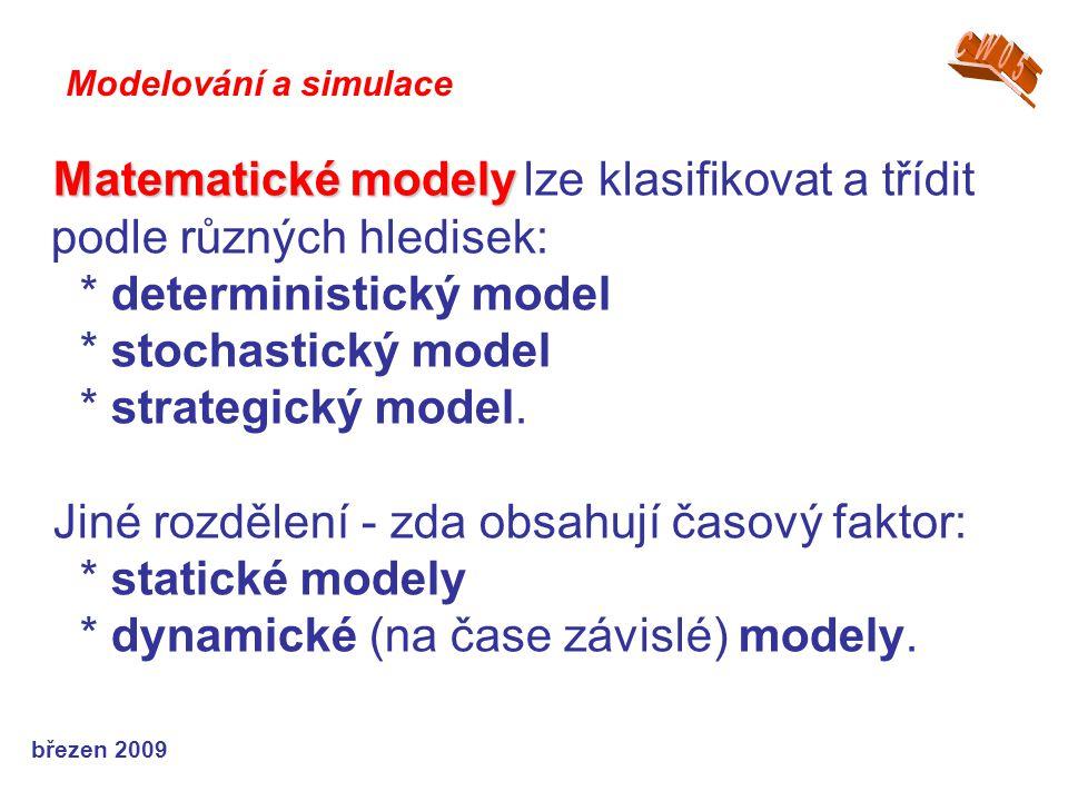 březen 2009 Matematické modely Matematické modely lze klasifikovat a třídit podle různých hledisek: * deterministický model * stochastický model * str