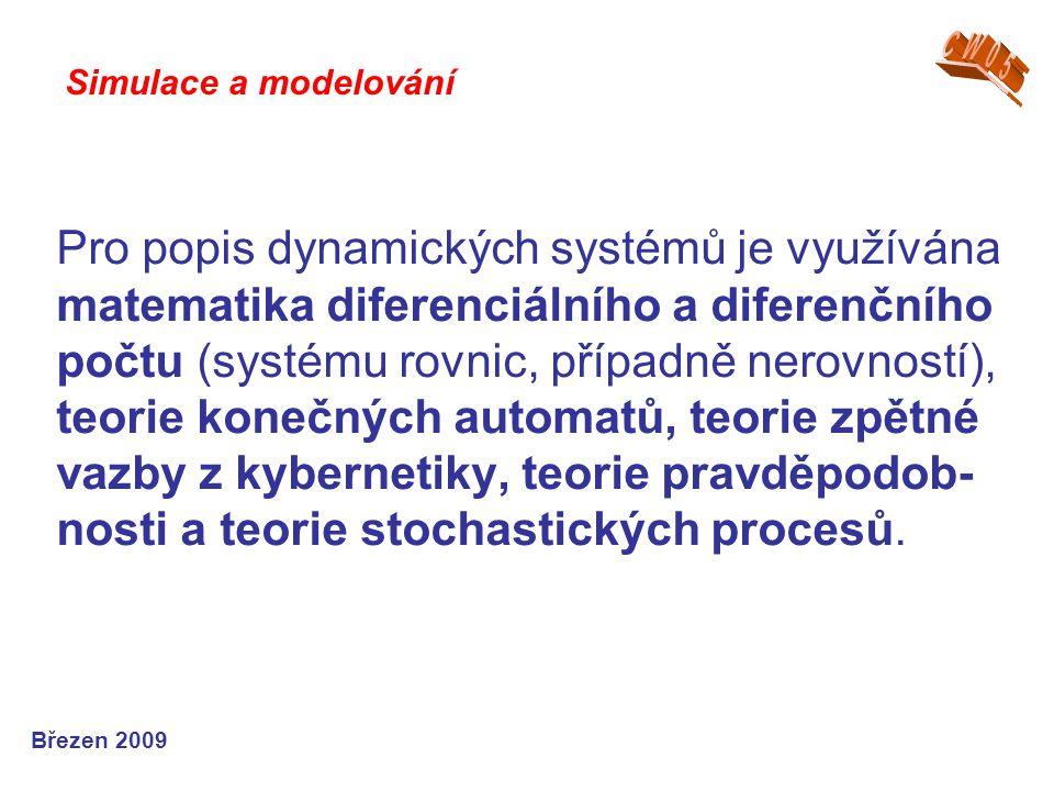 Pro popis dynamických systémů je využívána matematika diferenciálního a diferenčního počtu (systému rovnic, případně nerovností), teorie konečných aut