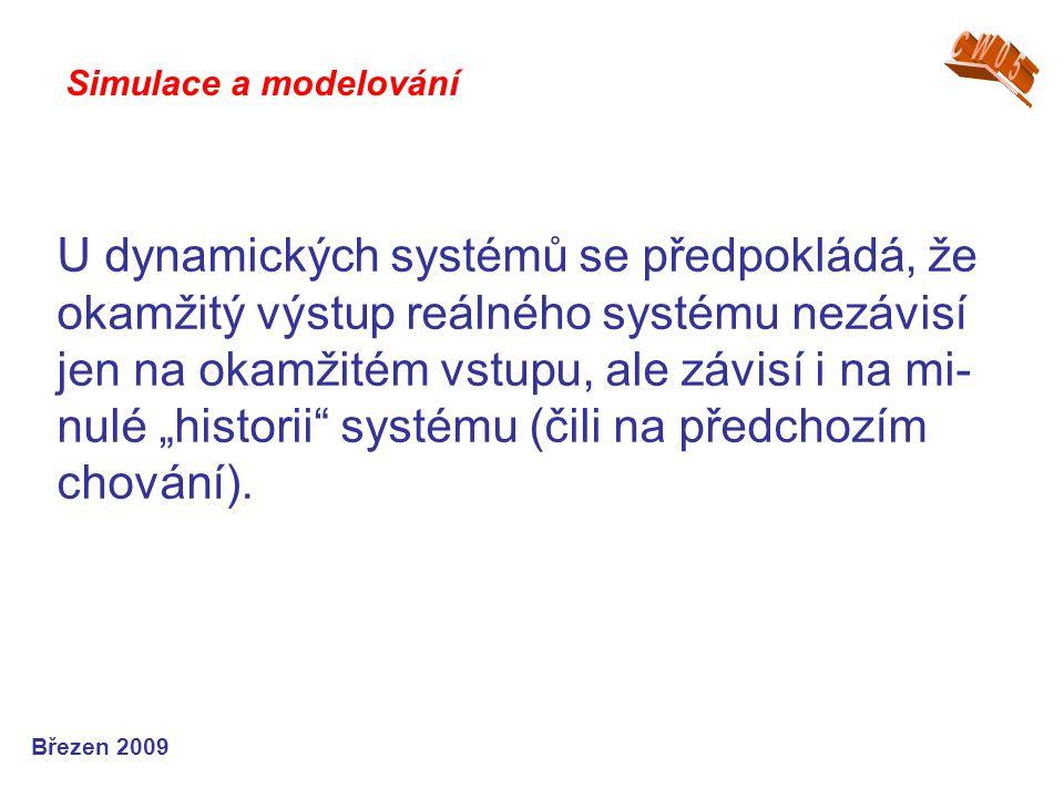 """U dynamických systémů se předpokládá, že okamžitý výstup reálného systému nezávisí jen na okamžitém vstupu, ale závisí i na mi- nulé """"historii"""" systém"""