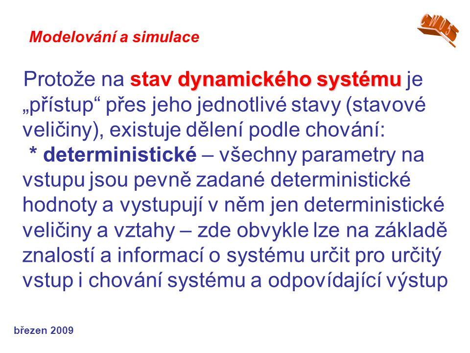 """březen 2009 dynamického systému Protože na stav dynamického systému je """"přístup"""" přes jeho jednotlivé stavy (stavové veličiny), existuje dělení podle"""