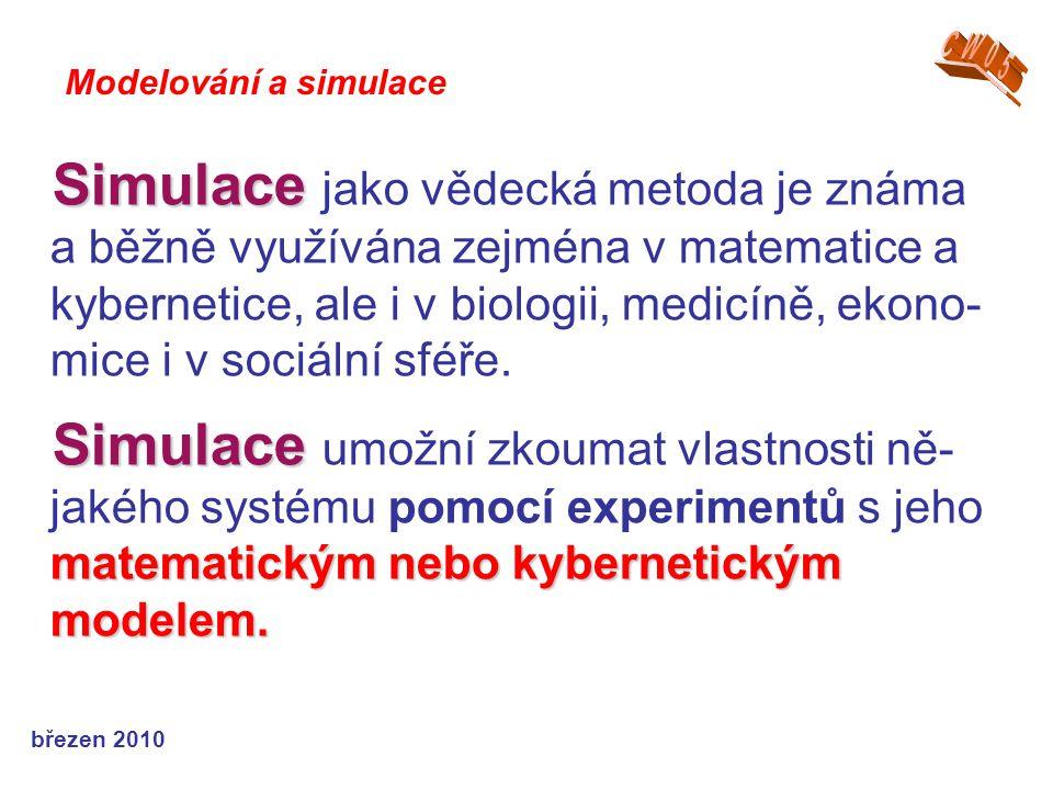 březen 2010 Simulace Simulace jako vědecká metoda je známa a běžně využívána zejména v matematice a kybernetice, ale i v biologii, medicíně, ekono- mi
