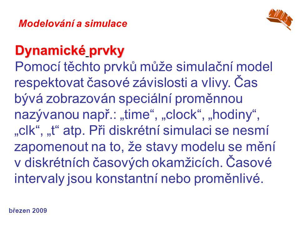 březen 2009 Dynamicképrvky Dynamické prvky Pomocí těchto prvků může simulační model respektovat časové závislosti a vlivy. Čas bývá zobrazován speciál