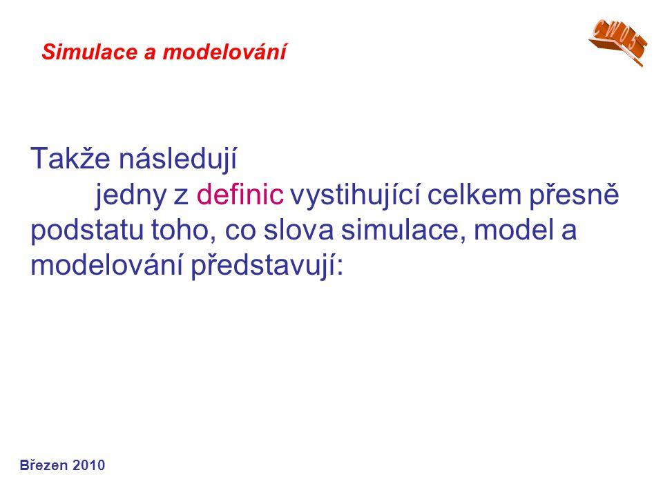 Takže následují jedny z definic vystihující celkem přesně podstatu toho, co slova simulace, model a modelování představují: Simulace a modelování Břez