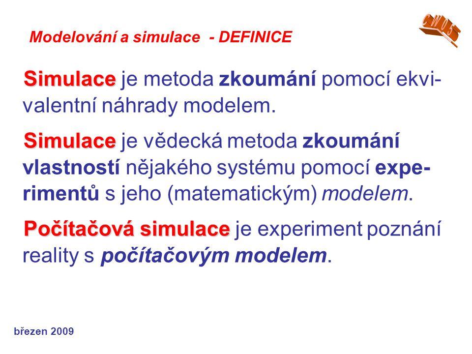 březen 2009 Simulace Simulace je metoda zkoumání pomocí ekvi- valentní náhrady modelem. Simulace Simulace je vědecká metoda zkoumání vlastností nějaké