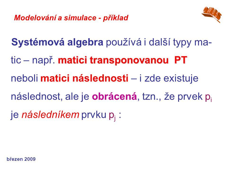 březen 2009 matici transponovanou PT Systémová algebra používá i další typy ma- tic – např. matici transponovanou PT neboli matici následnosti – i zde