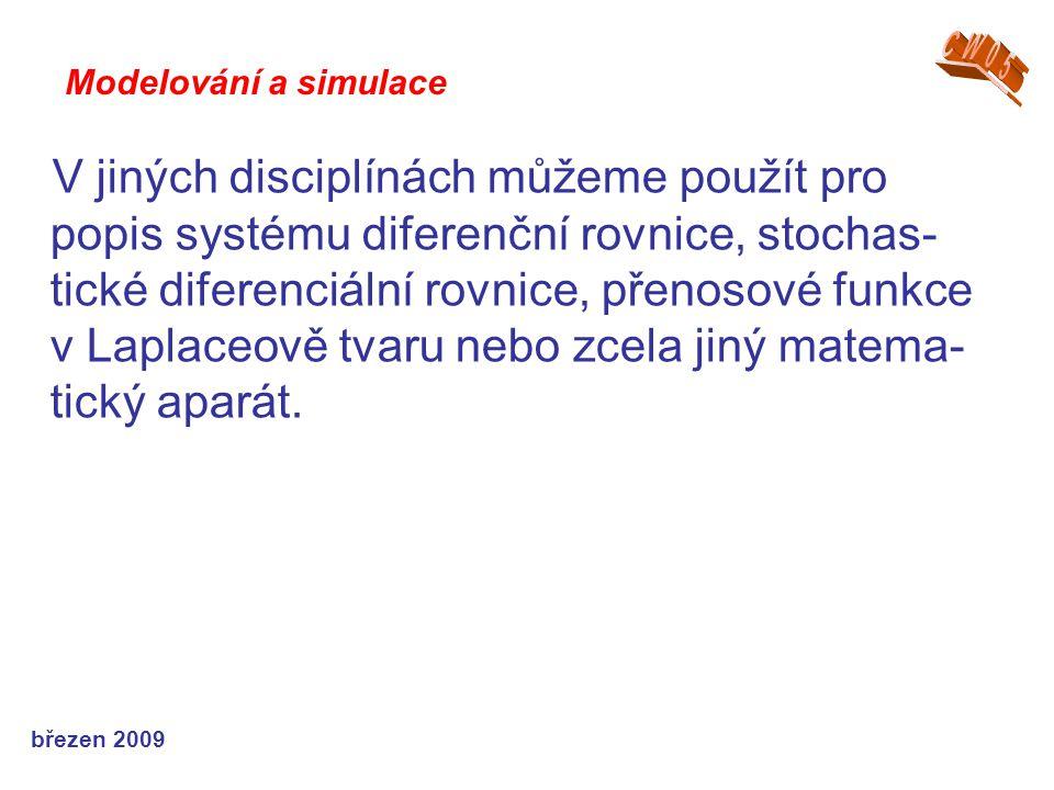 březen 2009 V jiných disciplínách můžeme použít pro popis systému diferenční rovnice, stochas- tické diferenciální rovnice, přenosové funkce v Laplace
