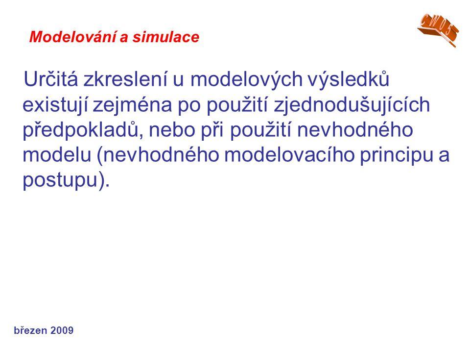 březen 2009 Určitá zkreslení u modelových výsledků existují zejména po použití zjednodušujících předpokladů, nebo při použití nevhodného modelu (nevho