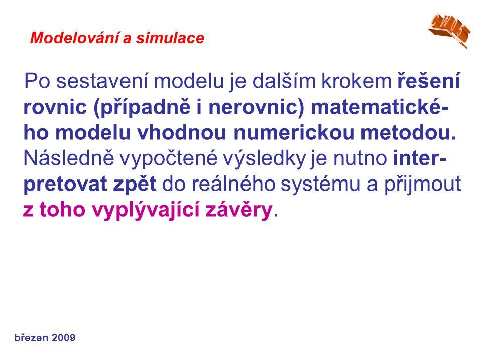 březen 2009 Po sestavení modelu je dalším krokem řešení rovnic (případně i nerovnic) matematické- ho modelu vhodnou numerickou metodou. Následně vypoč
