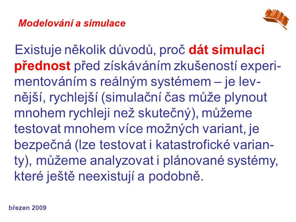 březen 2009 Existuje několik důvodů, proč dát simulaci přednost před získáváním zkušeností experi- mentováním s reálným systémem – je lev- nější, rych