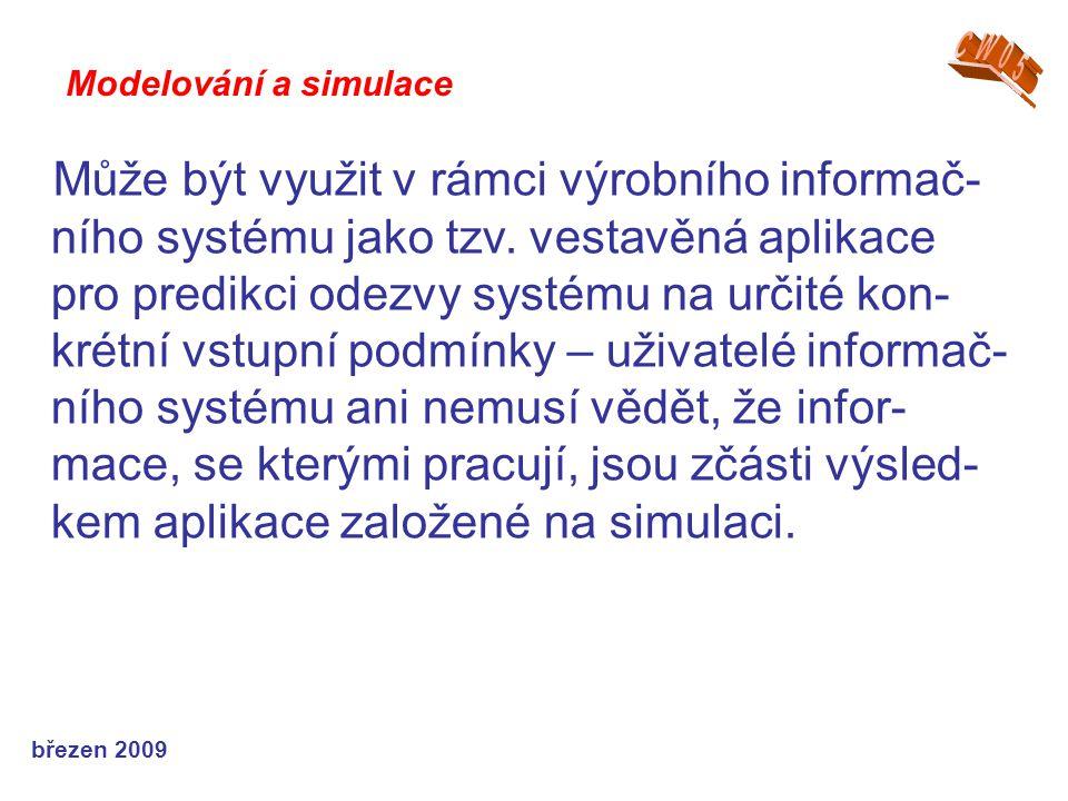 březen 2009 Může být využit v rámci výrobního informač- ního systému jako tzv. vestavěná aplikace pro predikci odezvy systému na určité kon- krétní vs