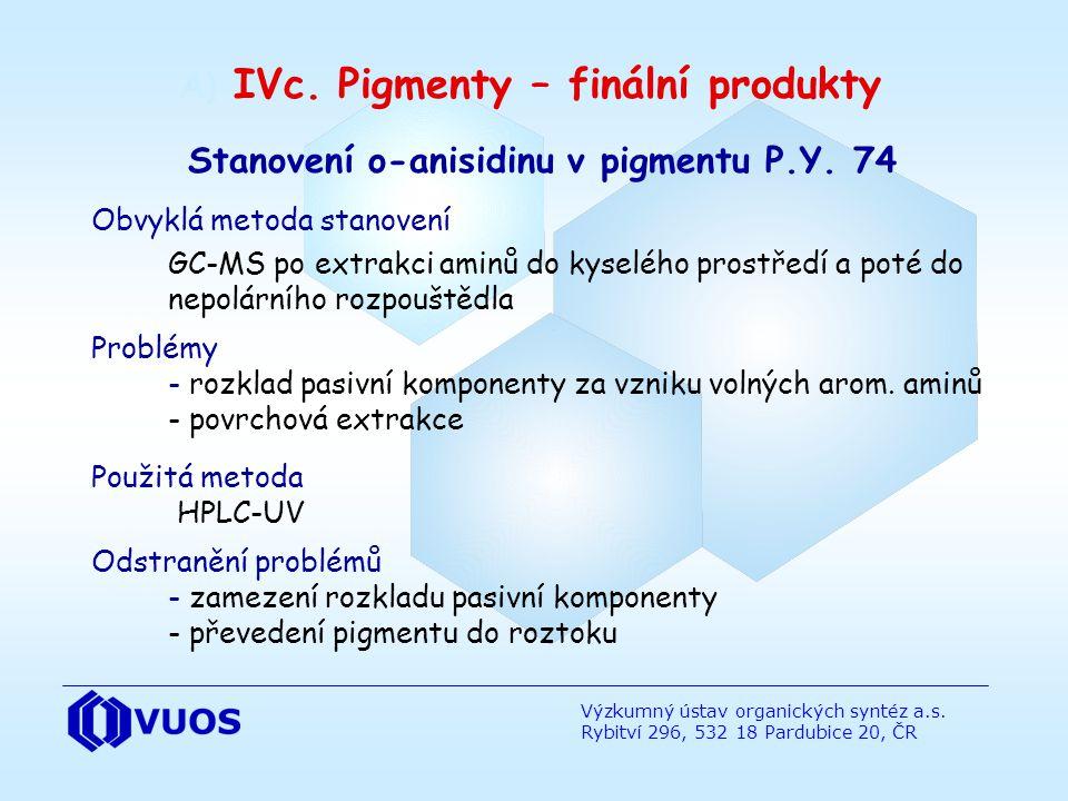 Výzkumný ústav organických syntéz a.s. Rybitví 296, 532 18 Pardubice 20, ČR Stanovení o-anisidinu v pigmentu P.Y. 74 Obvyklá metoda stanovení GC-MS po