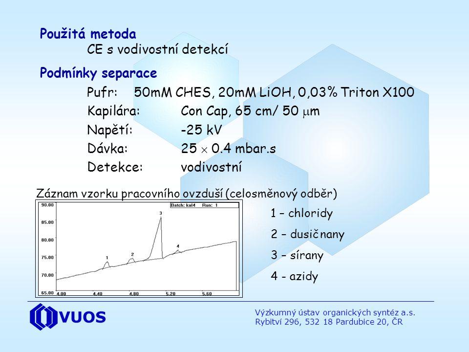 Výzkumný ústav organických syntéz a.s. Rybitví 296, 532 18 Pardubice 20, ČR Záznam vzorku pracovního ovzduší (celosměnový odběr) Použitá metoda CE s v