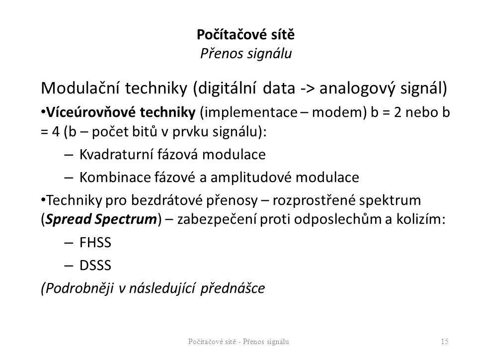 Modulační techniky (digitální data -> analogový signál) Víceúrovňové techniky (implementace – modem) b = 2 nebo b = 4 (b – počet bitů v prvku signálu): – Kvadraturní fázová modulace – Kombinace fázové a amplitudové modulace Techniky pro bezdrátové přenosy – rozprostřené spektrum (Spread Spectrum) – zabezpečení proti odposlechům a kolizím: – FHSS – DSSS (Podrobněji v následující přednášce Počítačové sítě - Přenos signálu15