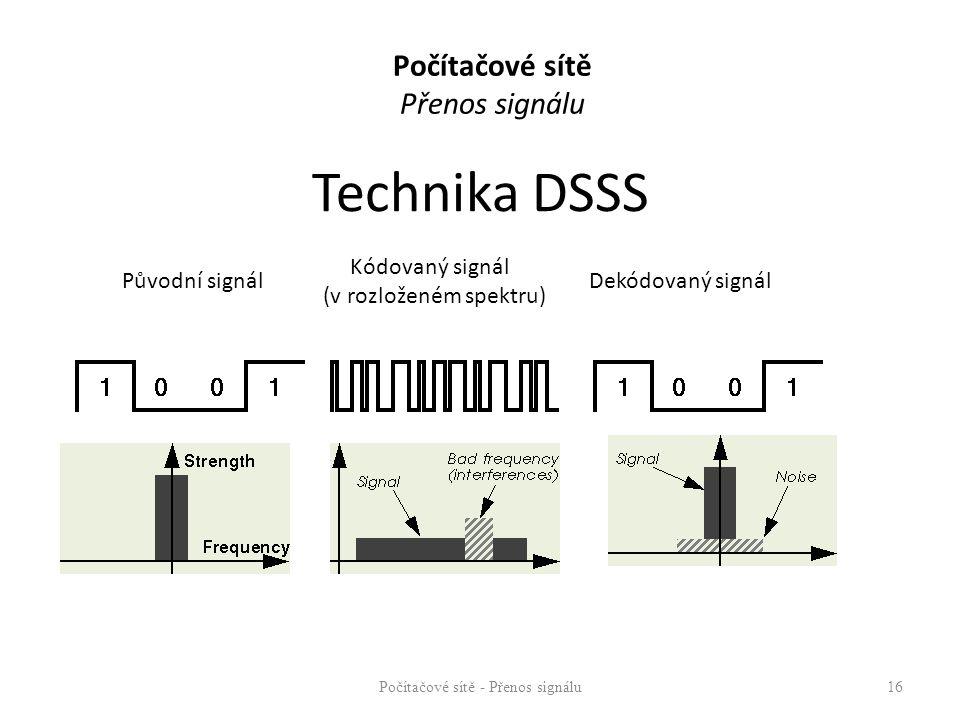 Technika DSSS Počítačové sítě - Přenos signálu16 Původní signál Kódovaný signál (v rozloženém spektru) Dekódovaný signál Direct Sequence : Počítačové