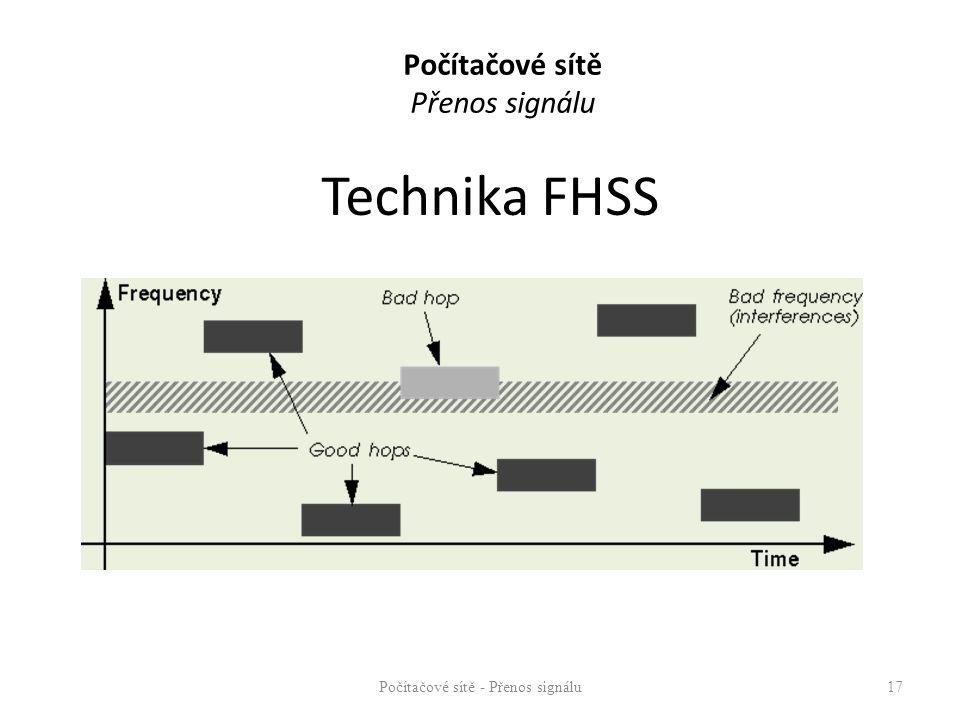 Technika FHSS Počítačové sítě - Přenos signálu17 Počítačové sítě Přenos signálu