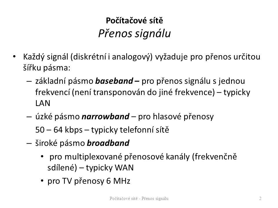 Počítačové sítě Přenos signálu Každý signál (diskrétní i analogový) vyžaduje pro přenos určitou šířku pásma: – základní pásmo baseband – pro přenos si