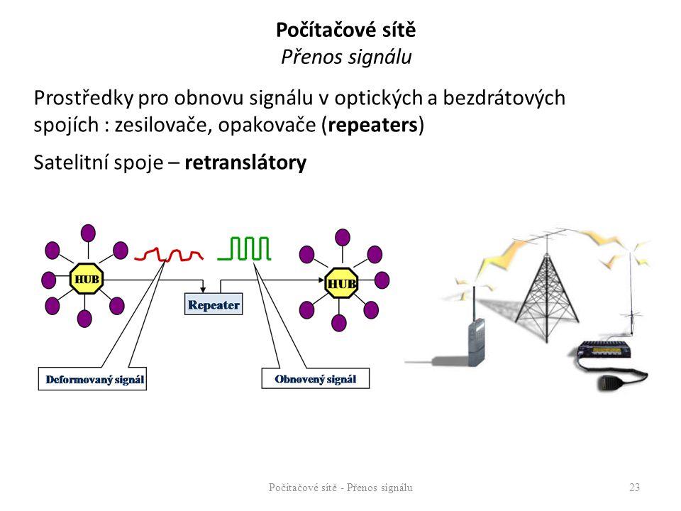 Počítačové sítě Přenos signálu Prostředky pro obnovu signálu v optických a bezdrátových spojích : zesilovače, opakovače (repeaters) Satelitní spoje –
