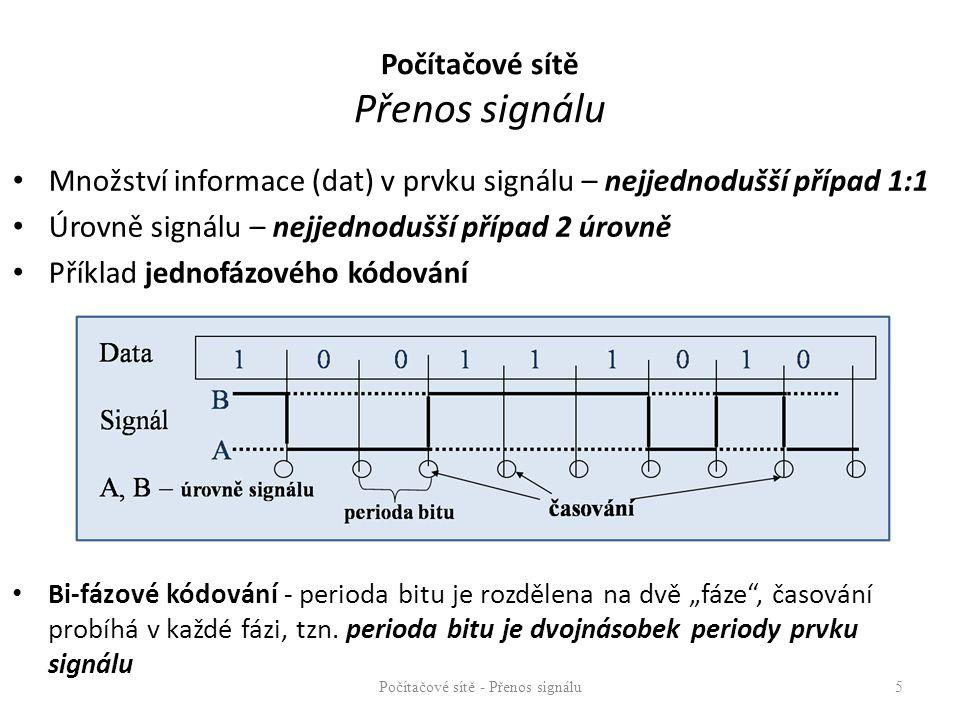 Důvody pro modulaci a kódování – technické - vysílání signálu musí být technologicky proveditelné – zvýšení účinnosti a využitelnosti spoje – zvýšení odolnosti přenosu – menší bitová chybovost – možnost detekce chyb – možnost synchronizace přenosu – zvýšení bezpečnosti přenosu – znemožnění odposlechu (zvláště u bezdrátových přenosů) Počítačové sítě - Přenos signálu6 Počítačové sítě Přenos signálu BER (Bit Error Ratio) poměr chybně přenesených bitů k počtu celkově přenesených bitů